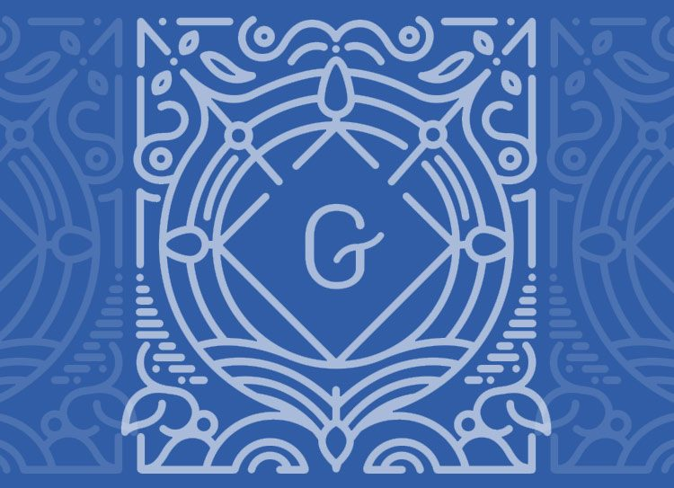 Guttenberg Press - logo - white letter G - blue background